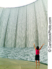 Manmade Waterfall in the City