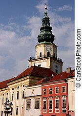 Clock tower in Kromeriz - Kromeriz townscape - beautiful old...