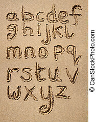 alfabeto, escrito, arena
