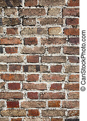 Close up of a very old brick wall.