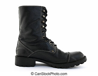 Black leather boot - Military style black leather boot on...