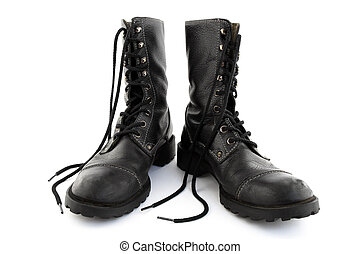 Army style leather boots - Army style black leather boots...
