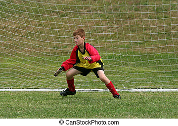 Goalkeeper - goalkeeper protecting the net