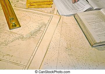 Nautical cartography - Close up view of nautical cartography...