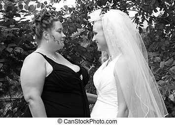 Bride and friend - beautiful bride and her friend