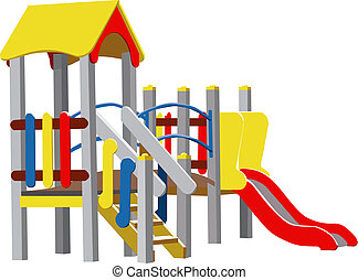 Children Playground - Colour Illustration of Children...