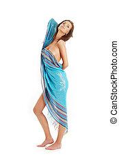girl with blue sarong - naked girl with blue sarong over...