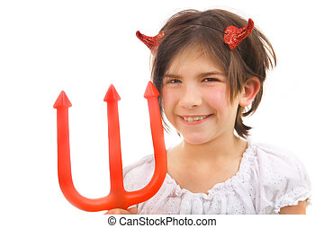 devil with tricky smile - cute Halloween devil girl with a...