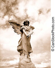 Sepia angel statue with sky and cloud backdrop.