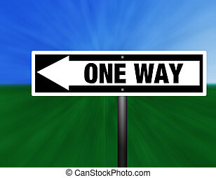 ONE WAY Street Sign - A black and white one way street sign...