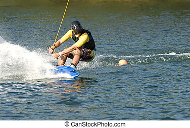 water boarding - man on water boarding at the sea