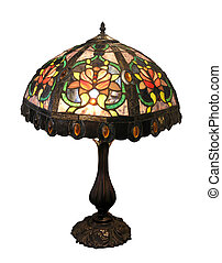 Ornate Glass Lampshade - An ornate glass lamp with clipping...