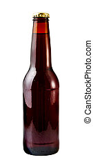 Beer Bottle - A close up on a brown beer bottle isolated on...