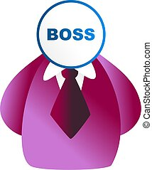 boss face - man with boss sign for a face - icon people...