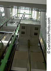 Elevator shaft - A veiw up an elevator shaft witha glass...