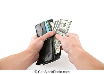 Paying cash - Wallet with money in hands, isolated white
