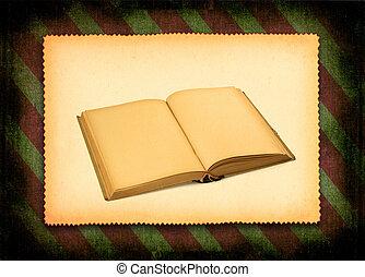 book against retro background