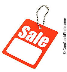 Sale tag with copy space isolated on white