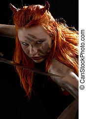 rojo, Diablo, niña, cuchillo, #2