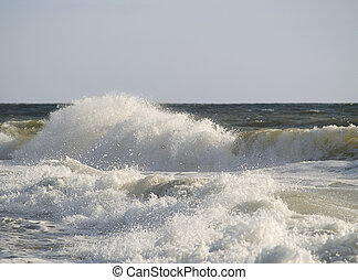 Restless Sea - The power of a braking wave along the...