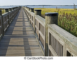 Walkway in Marsh - A walkway in the wetlands of a park near...