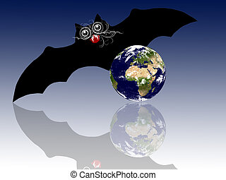 Halloween theme: stylized bat with the Earth