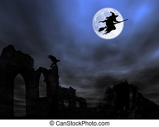 Halloween theme: bats flying over the old ruin against the...
