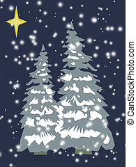 Christmas trees in retro - Christmas tree with star in retro...