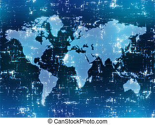 high tech map - world map background image on high tech blue...