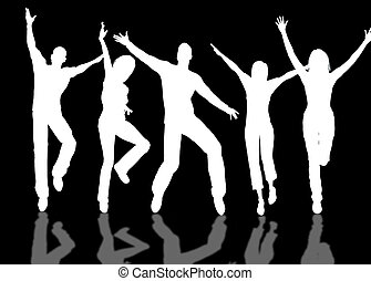 Happy people - A people group jumping and dancing for...