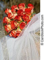 Bouquet Red - A rose wedding bouquet outside