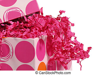Giftbox - Photo of Giftbox and Paper Stuffing - Background /...