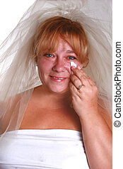 watery eyed bride - beautiful blue eyed bride crying before...