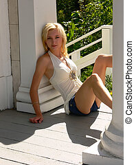Young lady in short jeans - An young lady in short jeans and...