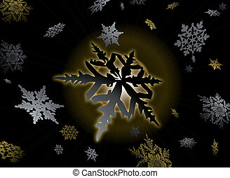 golden flake - golden snowflake design with gold and silver...