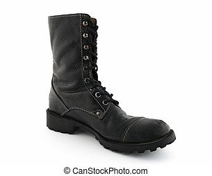 Army style black leather boot on white background.