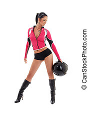 brunette biker girl with black helmet - sporty brunette...