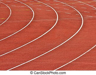 Running tracks - curvy running  lanes on stadium