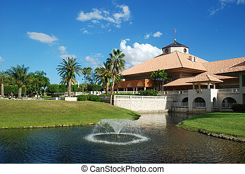 Country club - Spanish style resort building at a country...