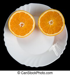 Abstract physiognomy - Two half of orange on a white plate