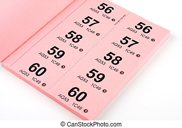 Book of Raffle Tickets - A book of raffle tickets against...