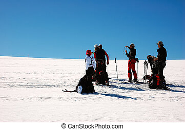 BACKCOUNTRY SKIERS - backcountry skiesr ski touring, west...