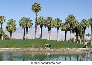 Golfing at tropical resort