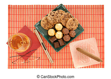 cognac, cigare and sweets - Belgium chocolates truffles,...