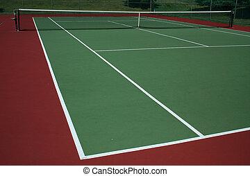 Tennis Court - A empty green Tennis Court with net