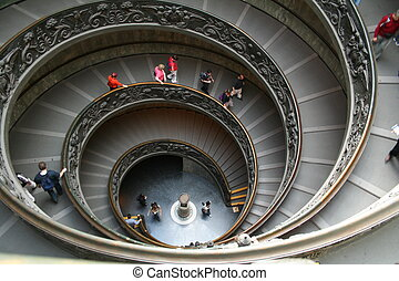 Italy. Vatican. Staircase - Italy. Rome. Vatican. A double...