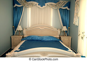 Bedroom - Nice blue bedroom with many luxurious details