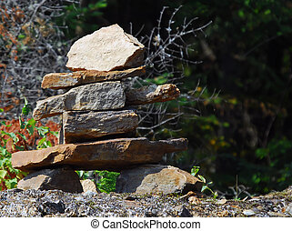 Inukshuk - A real Inukshuk found along a northern road in...