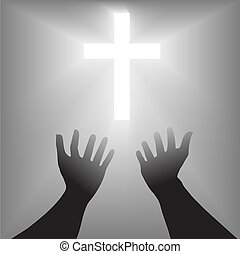 Supplication Hands Cross Silhouette - A pair of hands reach...