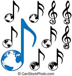 World Music Earth Notes - Set of Nine World Music symbols. 3...